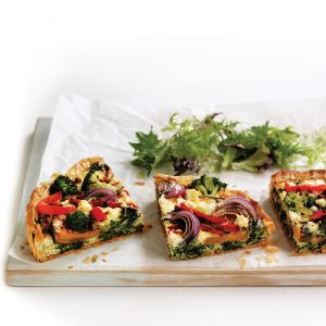 Roasted vegetable and feta tarts