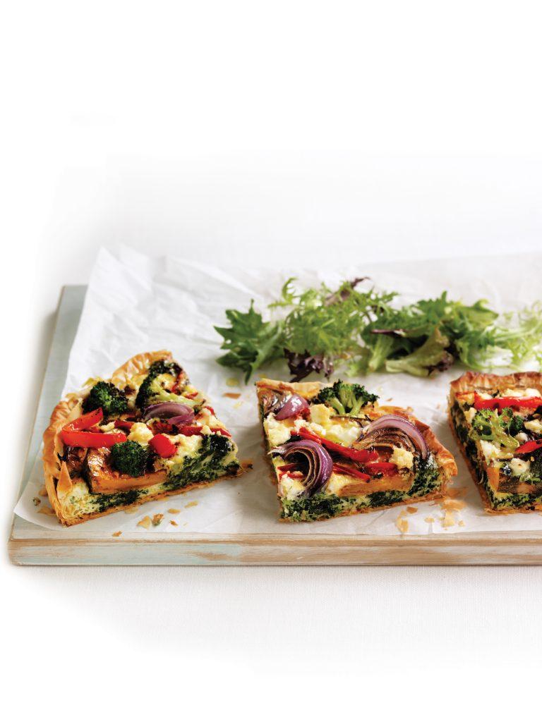 Roasted vegetable and feta tarts