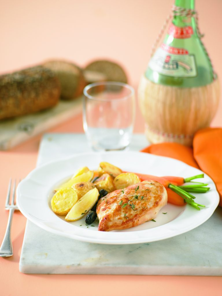 Roasted Chicken Breast Fillets With Lemon Olives And Thyme