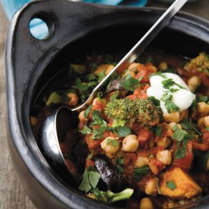 Roasted eggplant and kumara stew