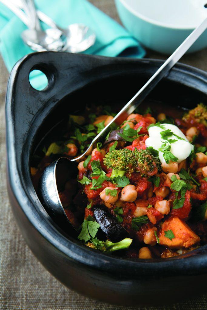 Roasted eggplant and kumara stew