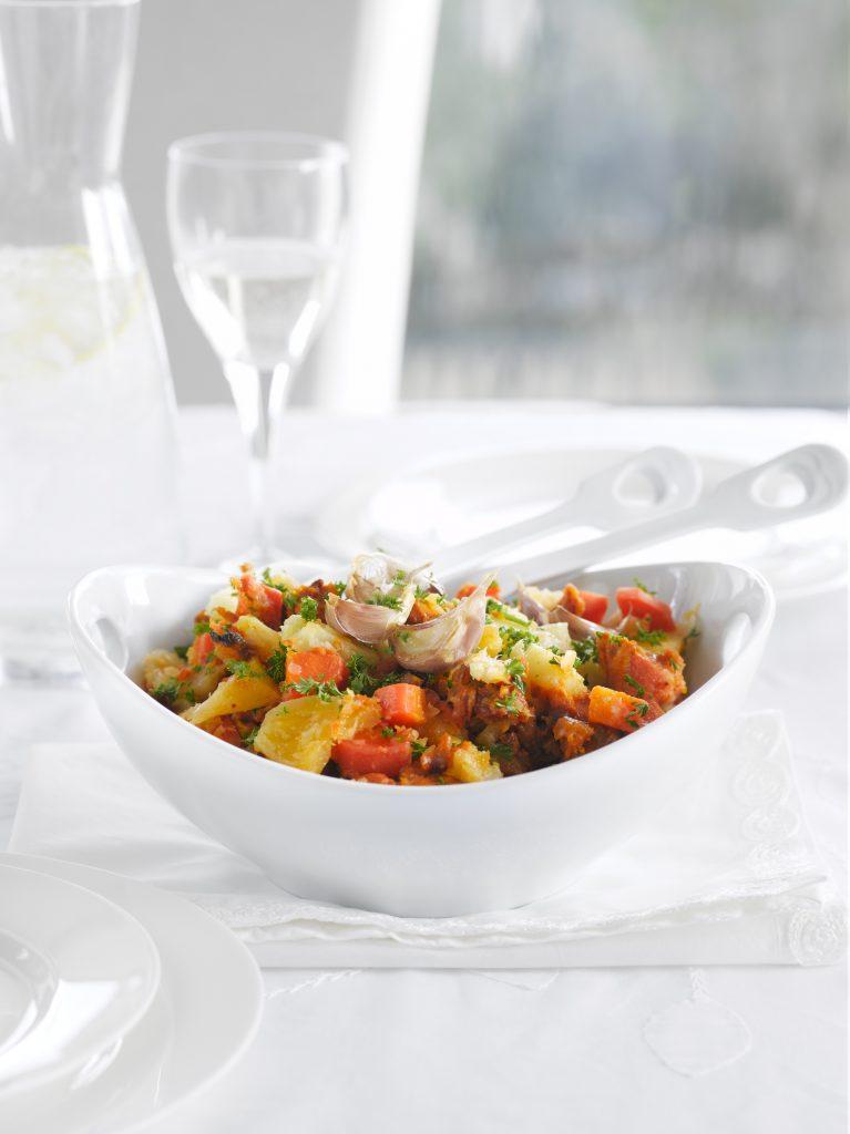 Roasted garlic vegetable mash