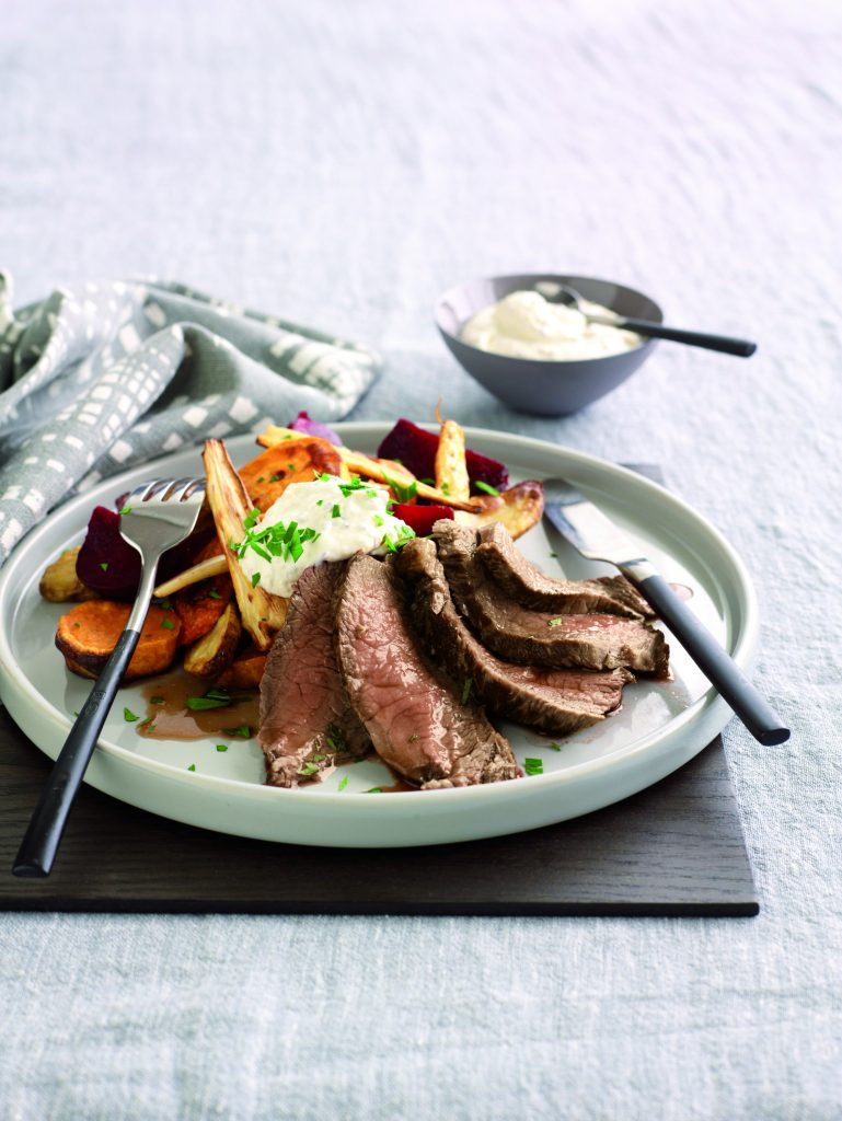 Roasted vegetables with seared beef and mustard cream