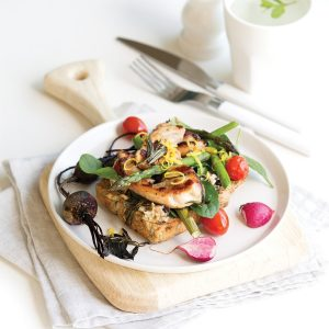 Rosemary and maple chicken sandwich with warm roasted veges