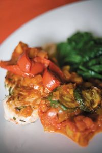 Rosemary chicken with capsicum and tomato sauce