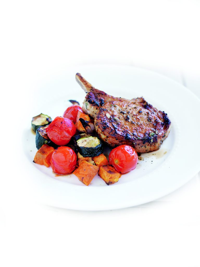 Rosemary pork with roasted veges