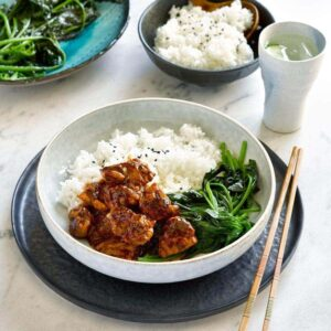 Sake garlic chicken with spinach