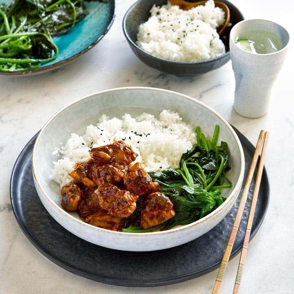 Sake garlic chicken with spinach