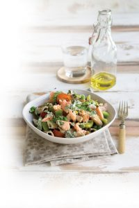 Salmon and dill pasta with rocket dressing