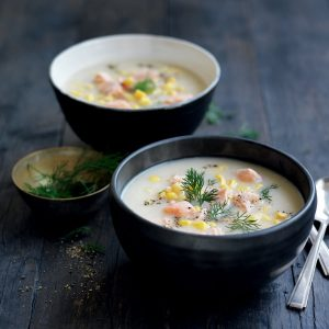 Salmon, celeriac and leek chowder