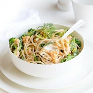 Salmon spaghetti with lemon, bok choy and rocket