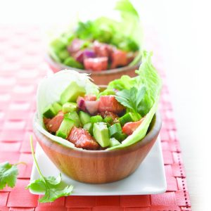 Salmon and avocado iceberg cups