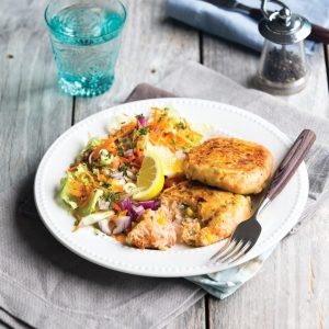 Salmon and corn fishcakes