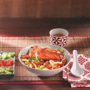 Salmon and noodle stir-fry