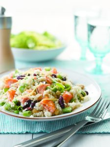 Salmon and pea couscous