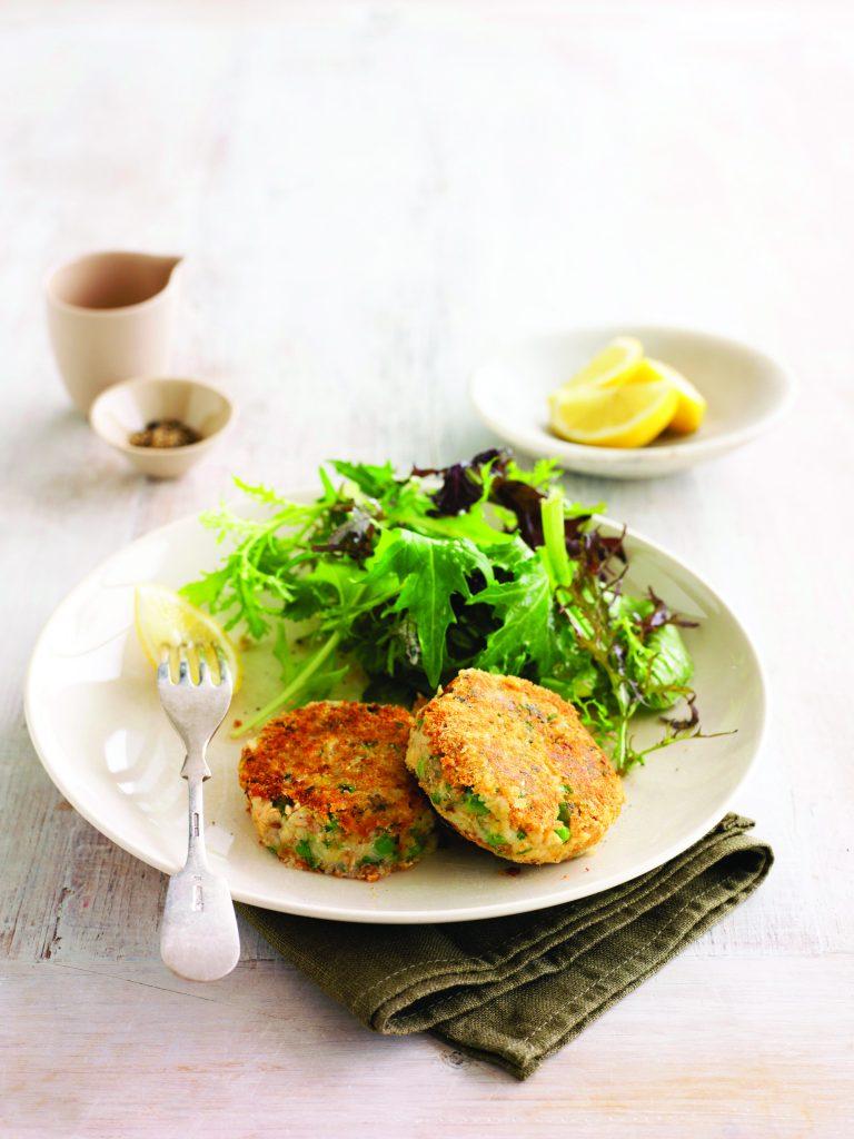 Salmon, pea and herb potato cakes