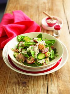Salmon salad with tahini dressing