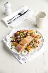 Salmon with beetroot, bulgar and mandarin salad