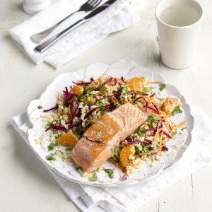 Salmon with beetroot, bulgar and mandarin salad