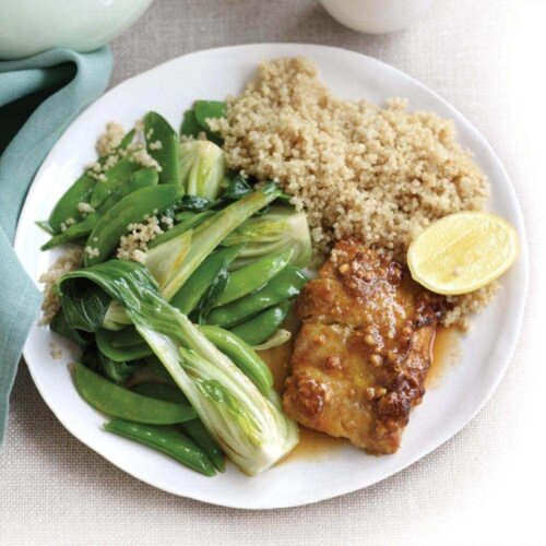 Satay-baked fish with stir-fried greens