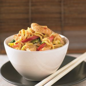 Satay chicken noodle stir-fry