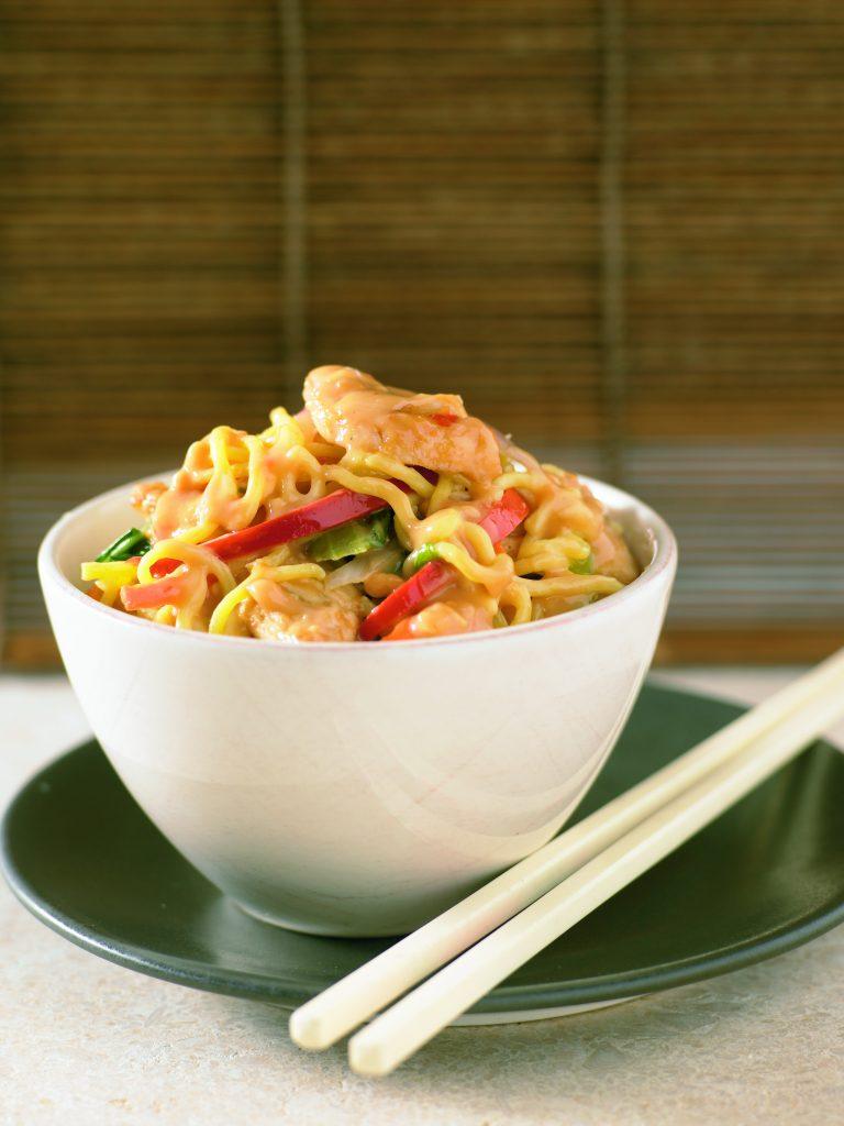 Satay chicken noodle stir-fry