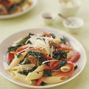 Sausage, tomato and capsicum pasta