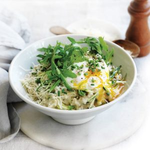 Savoury porridge with courgette, parmesan, rocket and poached egg