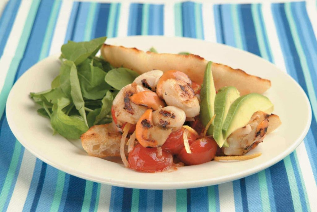 Scallop, avocado and tomato ciabatta