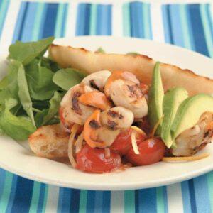 Scallop, avocado and tomato ciabatta