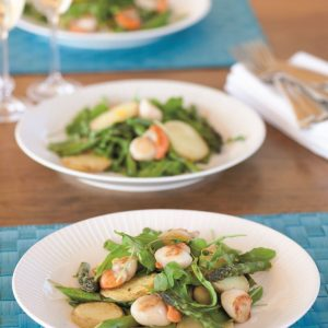 Scallop, asparagus and potato salad
