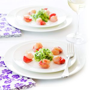 Scallops, apple, fennel and herb salsa