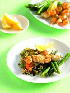 Seafood skewers with lentil salad