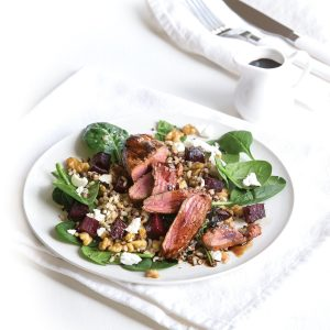 Seared smoked paprika lamb with brown rice and beetroot salad
