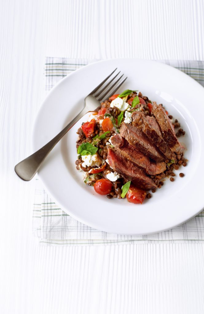 seared steak with sundried tomato lentils  healthy food guide