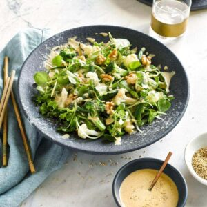 Seasonal salad with sesame seed dressing