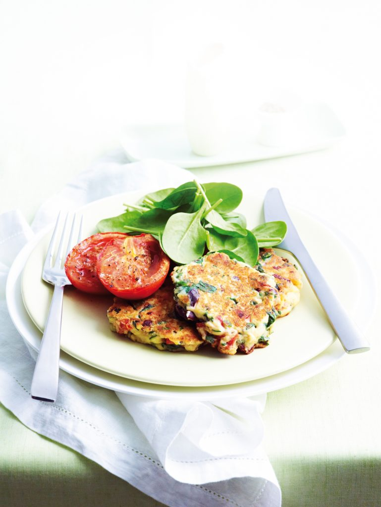 Semi-dried tomato, spinach and ricotta fritters
