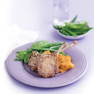 Sesame lamb cutlets with kumara mash