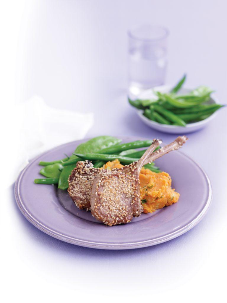 Sesame lamb cutlets with kumara mash