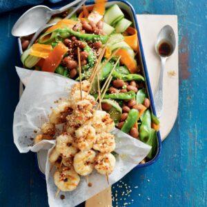 Sesame prawn skewers with borlotti bean and snow pea salad