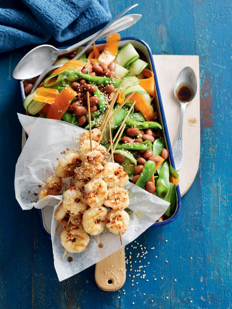 Sesame prawn skewers with borlotti bean and snow pea salad