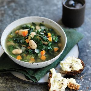 Silver beet and butter bean soup