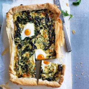 Silver beet, feta and mint tart