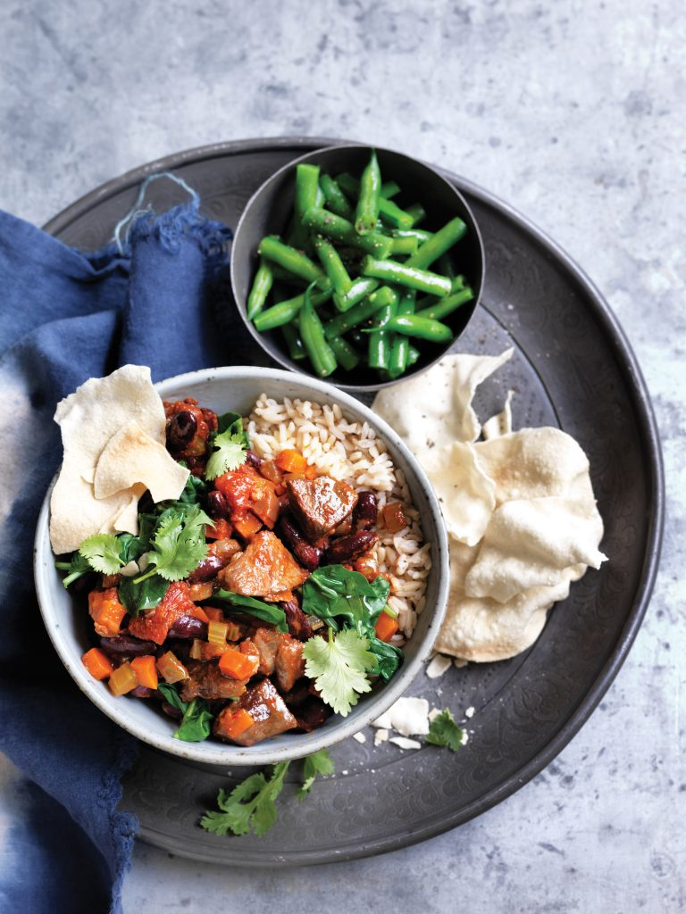 Slow-cooked lamb and bean curry