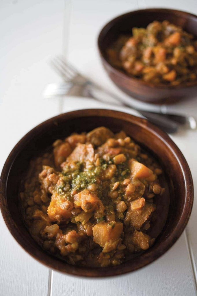 Slow-cooker sausages with lentils