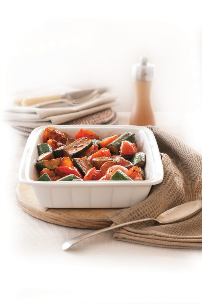 Slow-roasted tomatoes and courgettes