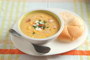 Smoked chicken and corn chowder