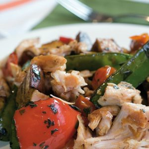 Smoked chicken and roasted vegetable salad