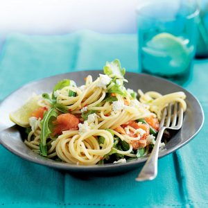 Smoked salmon and rocket pasta