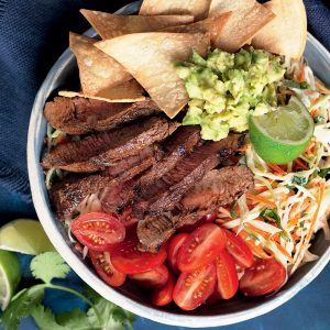 Smoky beef and slaw nachos bowl